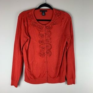 Grace Elements Rustic Orange Ruffle Cardigan sz. M